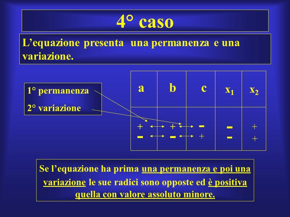 4° caso L'equazione presenta una permanenza e una variazione. a. b. c. x1. x2. 1° permanenza.