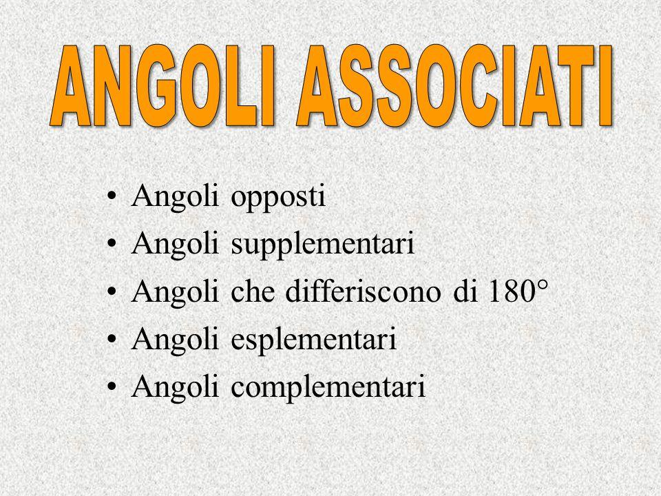 ANGOLI ASSOCIATI Angoli opposti. Angoli supplementari. Angoli che differiscono di 180° Angoli esplementari.