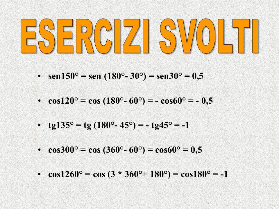 ESERCIZI SVOLTI sen150° = sen (180°- 30°) = sen30° = 0,5