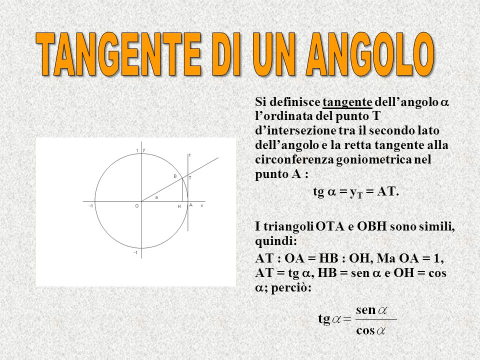 TANGENTE DI UN ANGOLO tg  = yT = AT.