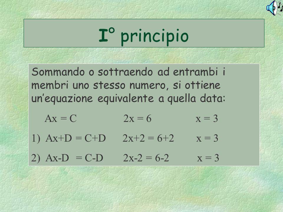 I° principio Sommando o sottraendo ad entrambi i membri uno stesso numero, si ottiene un'equazione equivalente a quella data:
