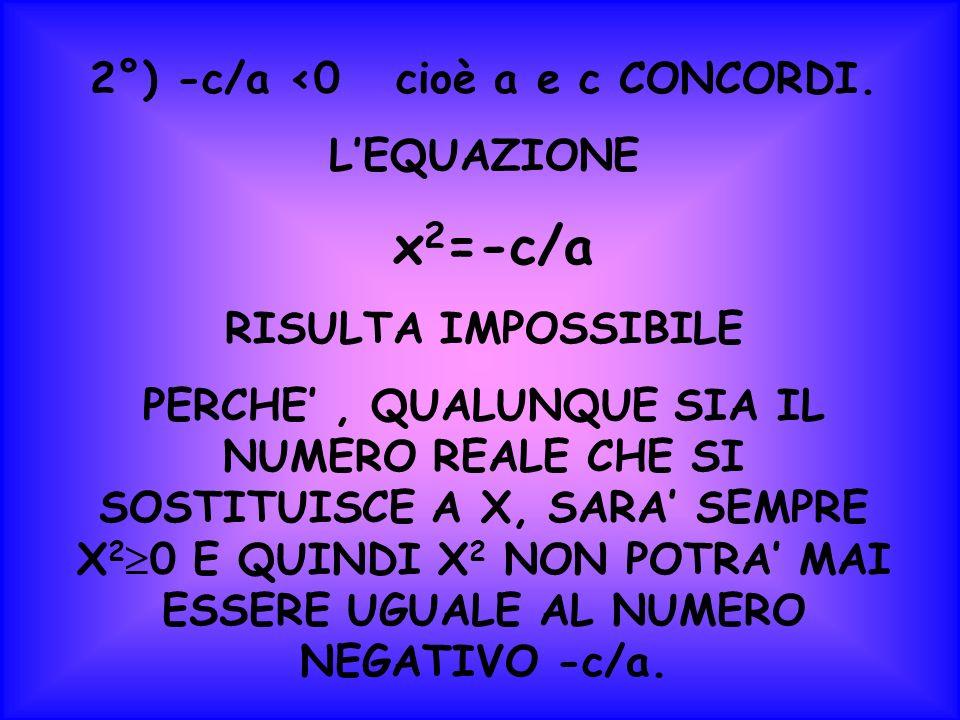 2°) -c/a <0 cioè a e c CONCORDI.