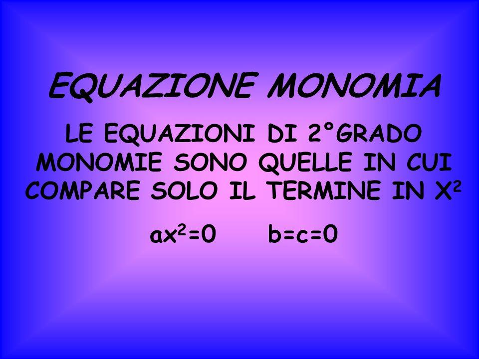 EQUAZIONE MONOMIA LE EQUAZIONI DI 2°GRADO MONOMIE SONO QUELLE IN CUI COMPARE SOLO IL TERMINE IN X2.