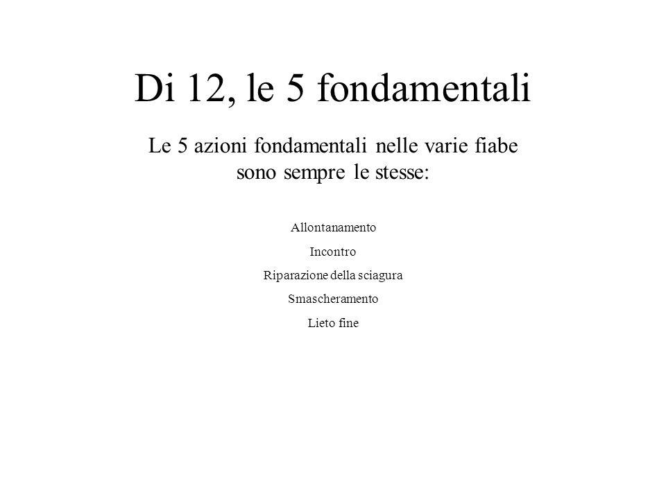 Di 12, le 5 fondamentali Le 5 azioni fondamentali nelle varie fiabe sono sempre le stesse: Allontanamento.