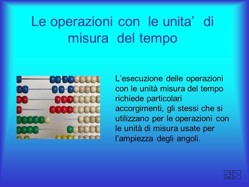 Le operazioni con le unita' di misura del tempo
