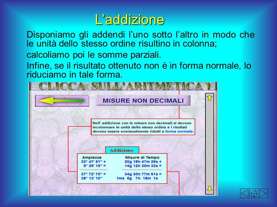 L'addizione Disponiamo gli addendi l'uno sotto l'altro in modo che le unità dello stesso ordine risultino in colonna;