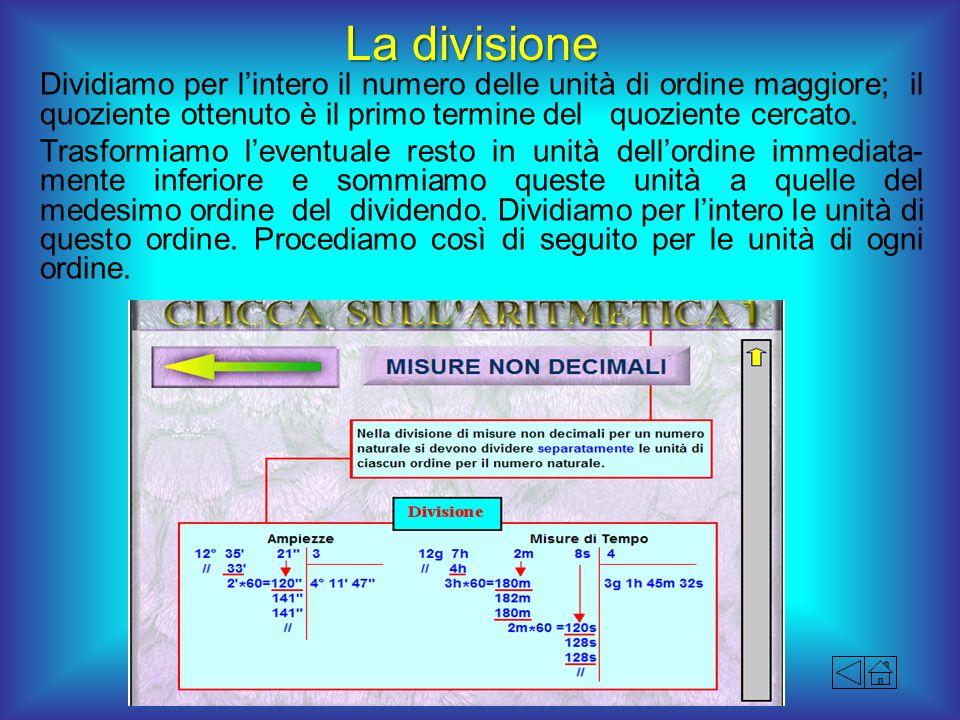 La divisione Dividiamo per l'intero il numero delle unità di ordine maggiore; il quoziente ottenuto è il primo termine del quoziente cercato.