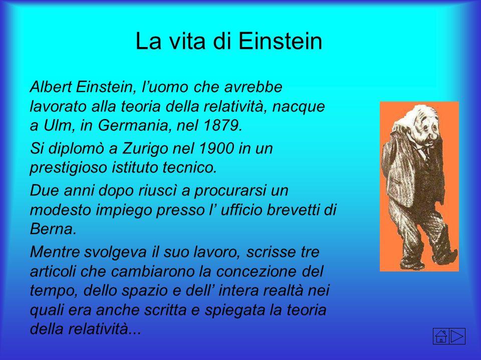 La vita di Einstein Albert Einstein, l'uomo che avrebbe lavorato alla teoria della relatività, nacque a Ulm, in Germania, nel 1879.