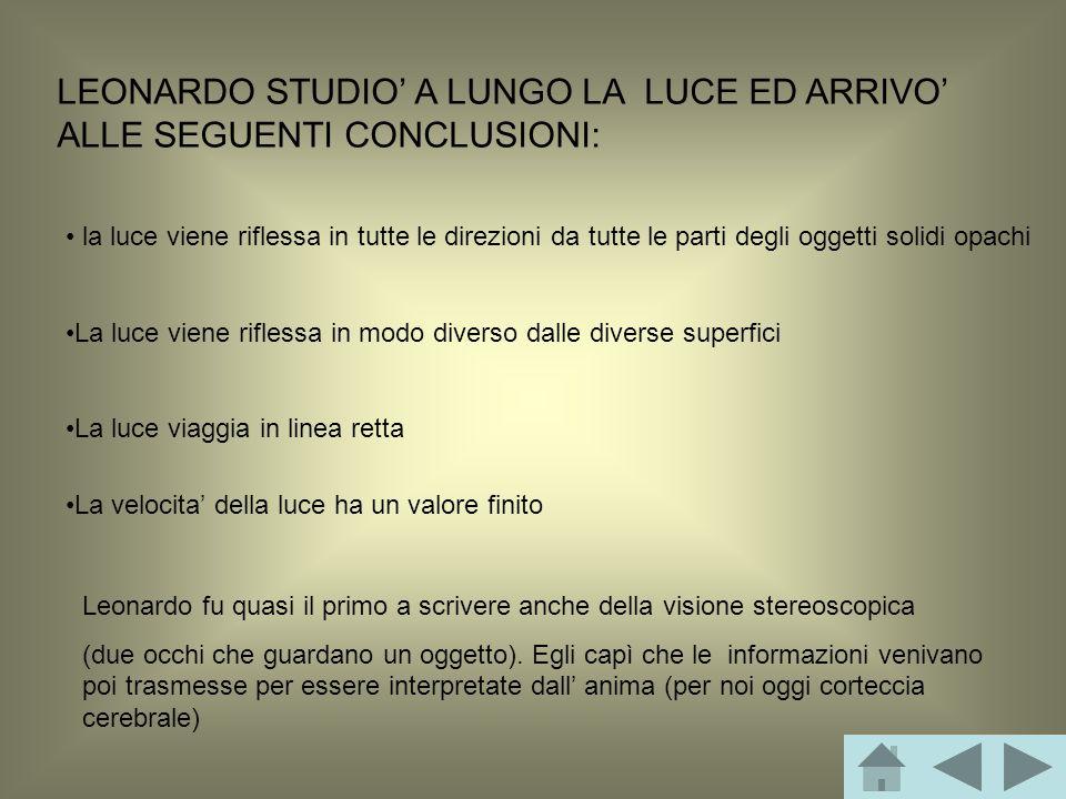 LEONARDO STUDIO' A LUNGO LA LUCE ED ARRIVO' ALLE SEGUENTI CONCLUSIONI: