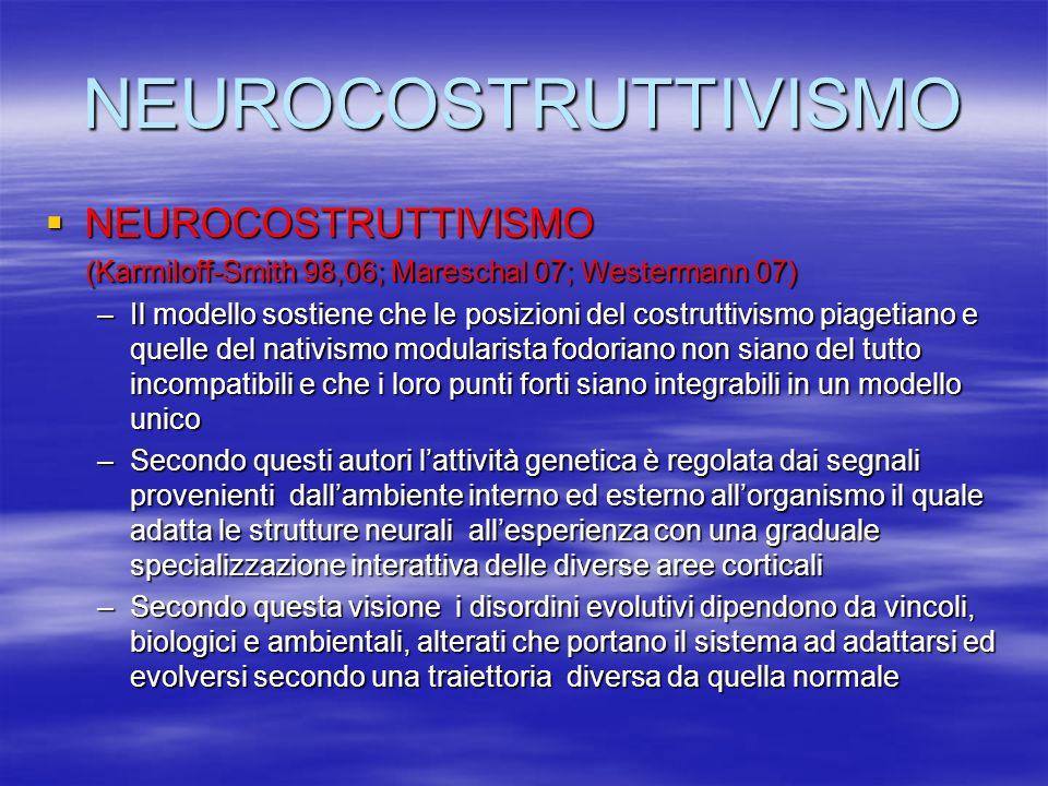 NEUROCOSTRUTTIVISMO NEUROCOSTRUTTIVISMO