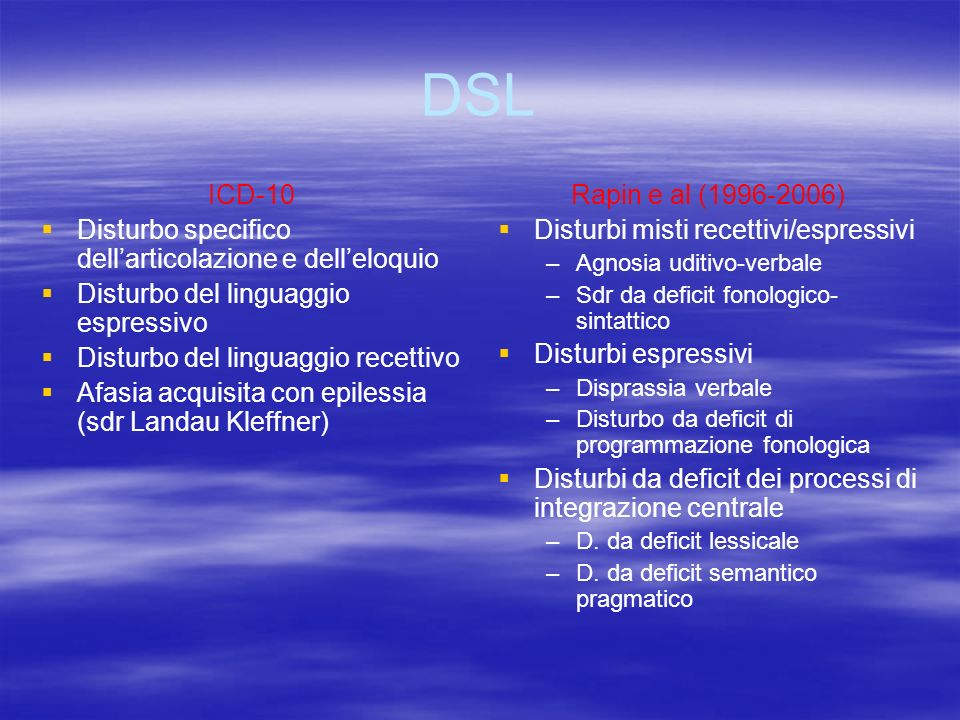 DSL ICD-10 Disturbo specifico dell'articolazione e dell'eloquio