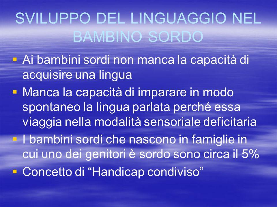 SVILUPPO DEL LINGUAGGIO NEL BAMBINO SORDO