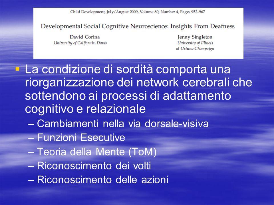 La condizione di sordità comporta una riorganizzazione dei network cerebrali che sottendono ai processi di adattamento cognitivo e relazionale