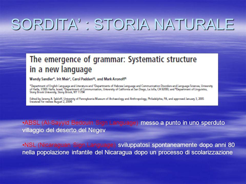 SORDITA' : STORIA NATURALE