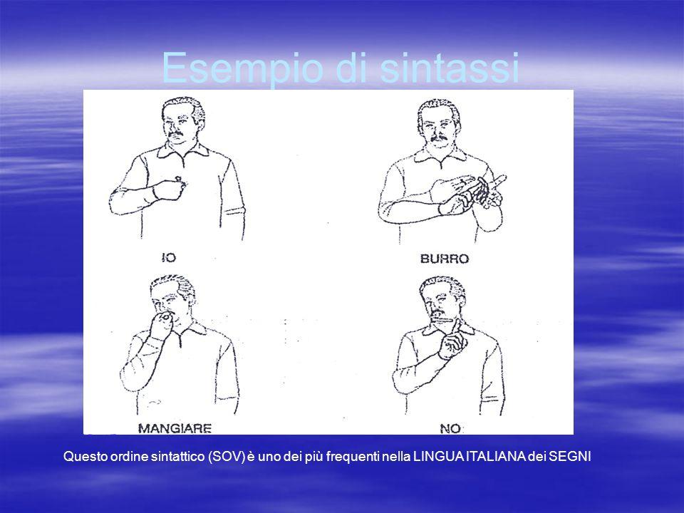 Esempio di sintassi Questo ordine sintattico (SOV) è uno dei più frequenti nella LINGUA ITALIANA dei SEGNI.