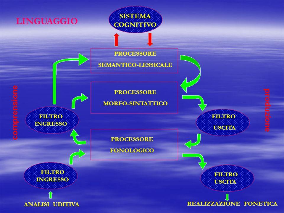 LINGUAGGIO comprensione produzione SISTEMA COGNITIVO PROCESSORE