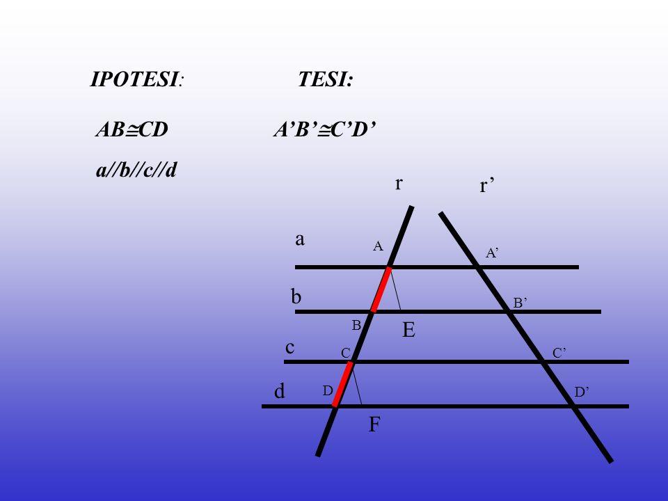 IPOTESI: TESI: ABCD a//b//c//d A'B'C'D' r r' a b E c d F A A' B' B C