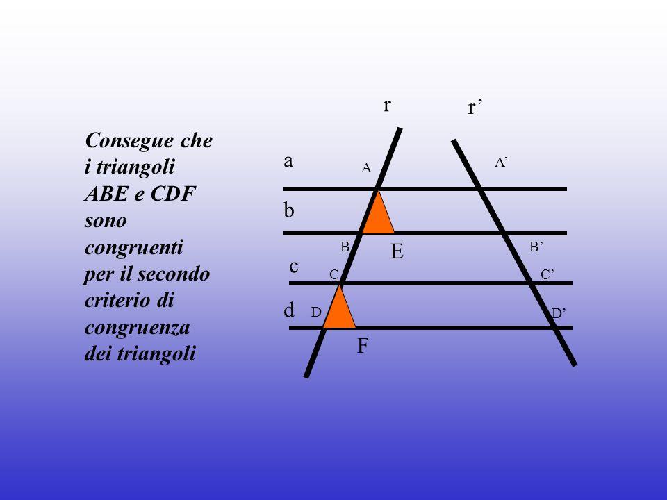 Consegue che i triangoli ABE e CDF sono congruenti