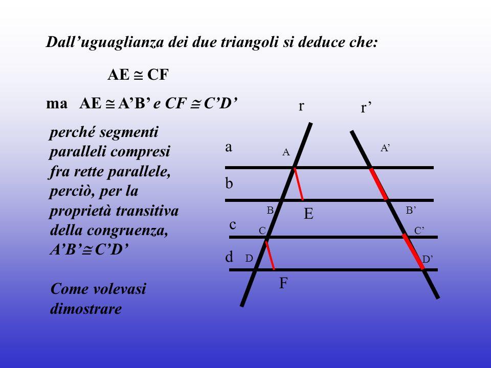 Dall'uguaglianza dei due triangoli si deduce che: