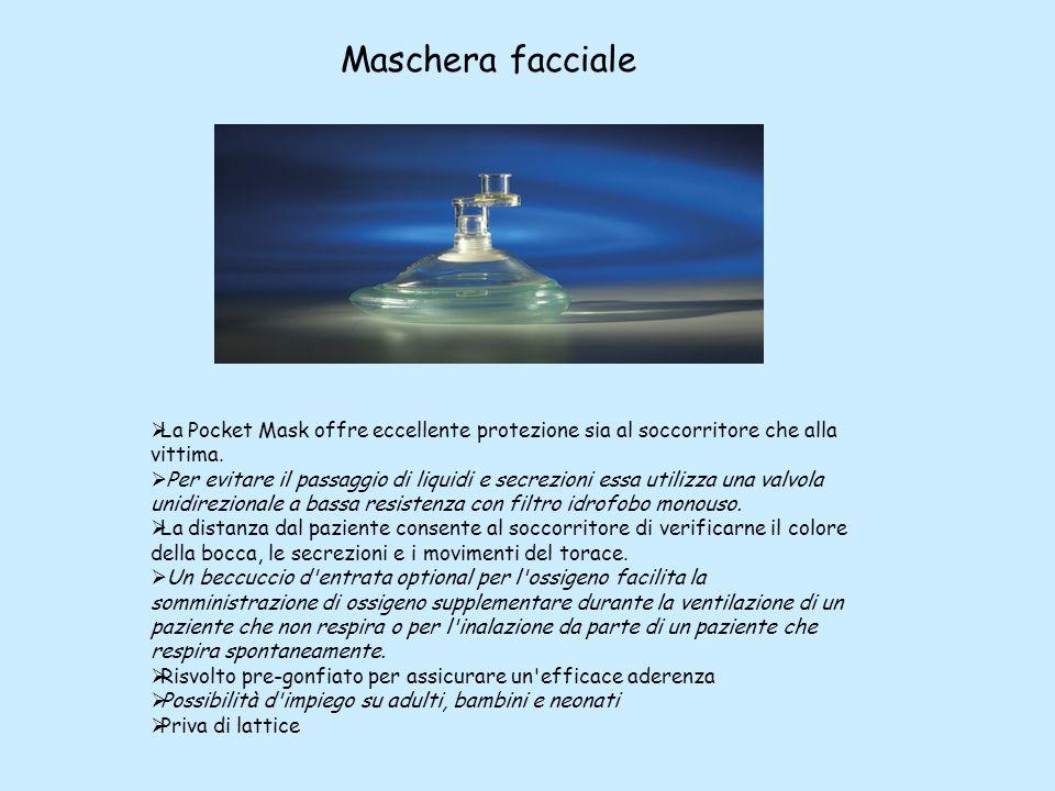 Maschera facciale La Pocket Mask offre eccellente protezione sia al soccorritore che alla vittima.