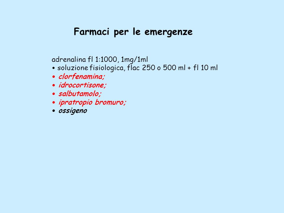 Farmaci per le emergenze