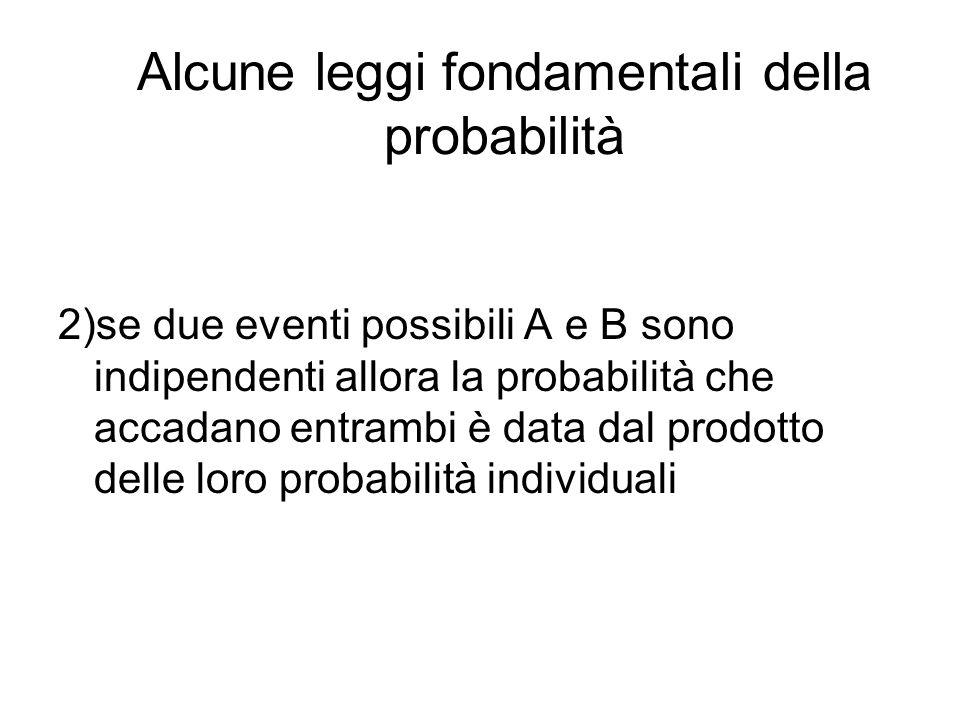 Alcune leggi fondamentali della probabilità