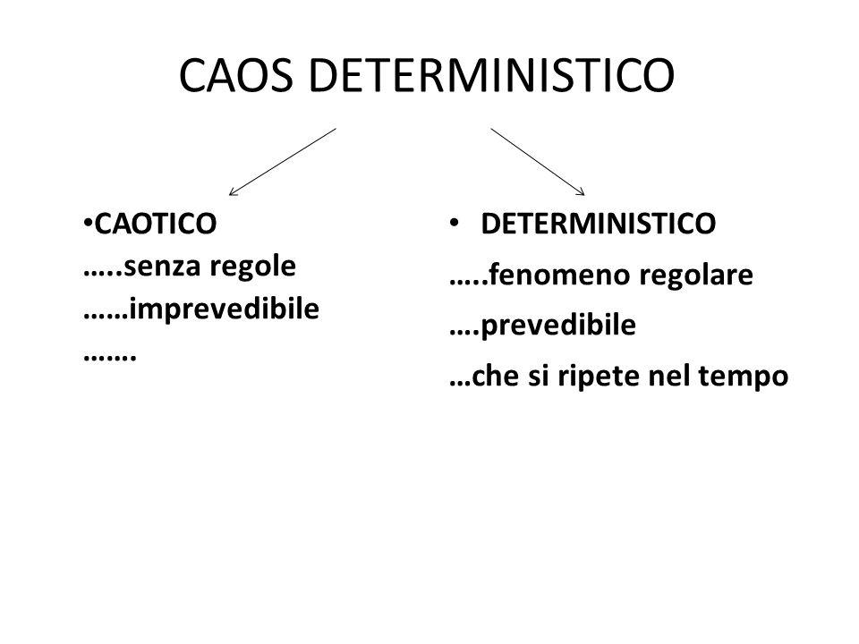 CAOS DETERMINISTICO CAOTICO …..senza regole ……imprevedibile …….
