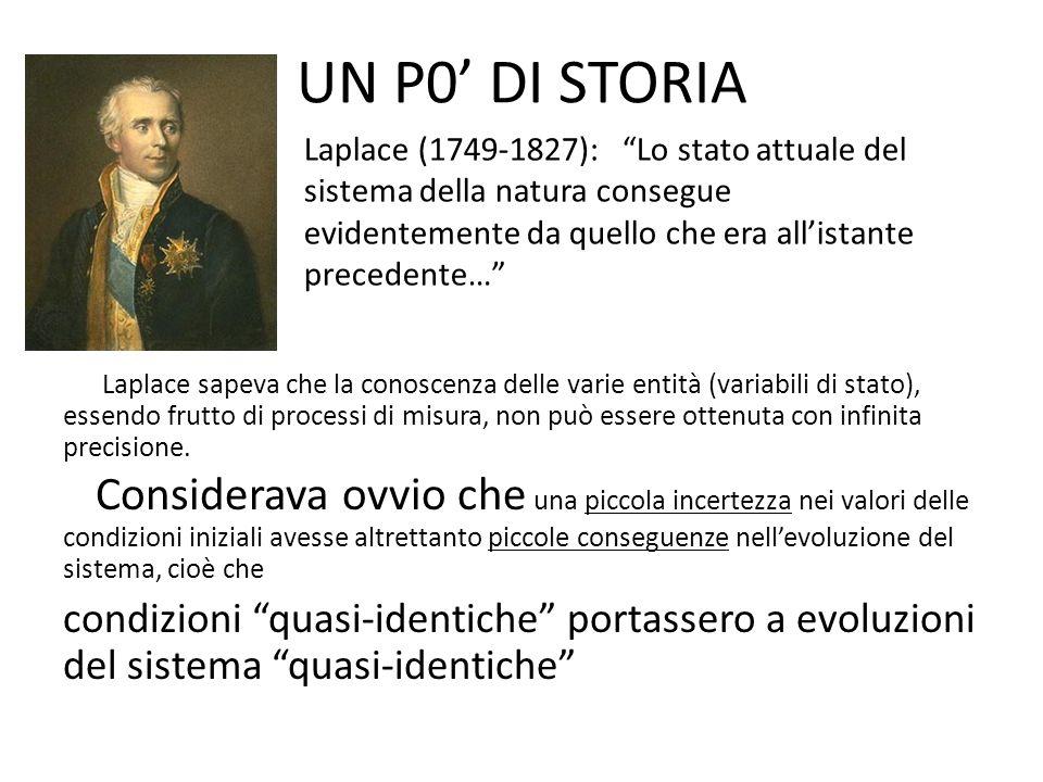 UN P0' DI STORIA Laplace (1749-1827): Lo stato attuale del sistema della natura consegue evidentemente da quello che era all'istante precedente…