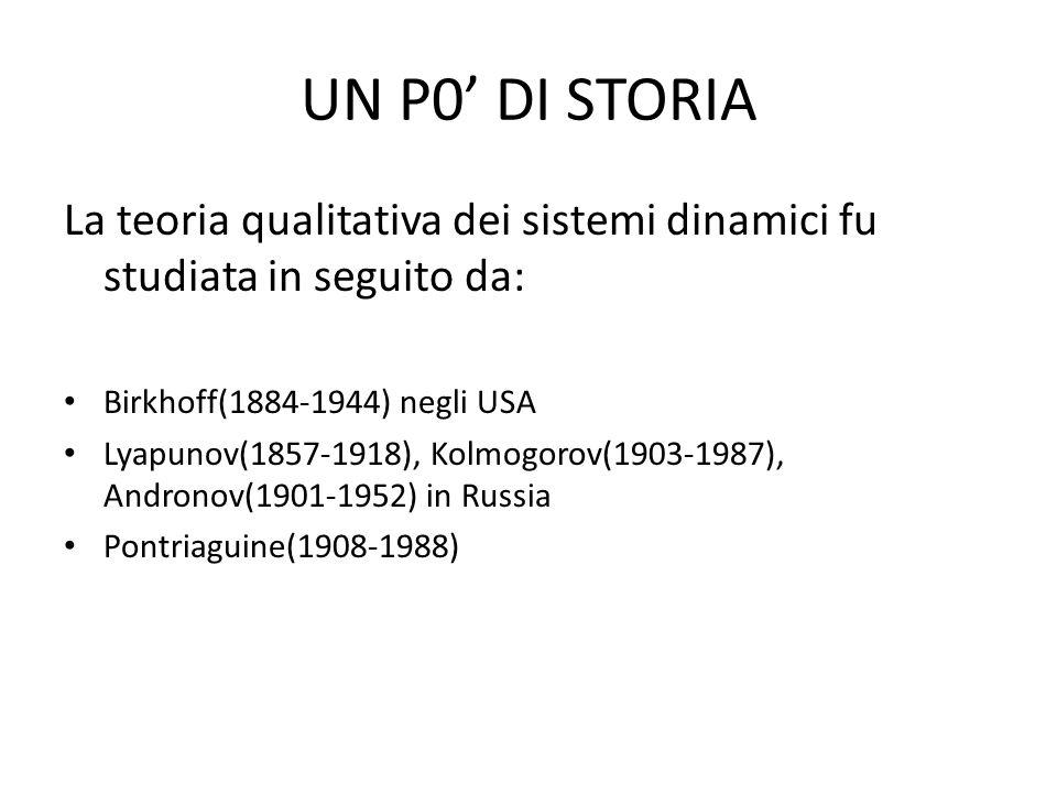 UN P0' DI STORIA La teoria qualitativa dei sistemi dinamici fu studiata in seguito da: Birkhoff(1884-1944) negli USA.