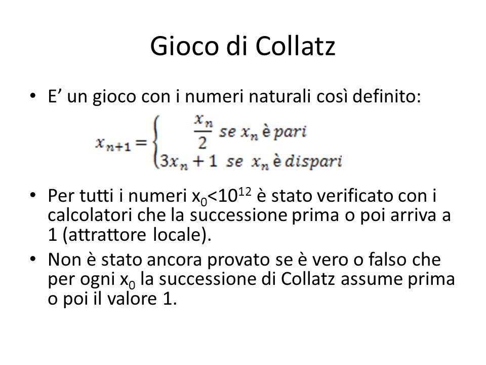 Gioco di Collatz E' un gioco con i numeri naturali così definito:
