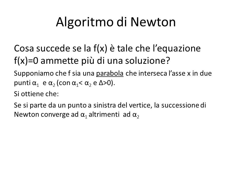 Algoritmo di Newton Cosa succede se la f(x) è tale che l'equazione f(x)=0 ammette più di una soluzione