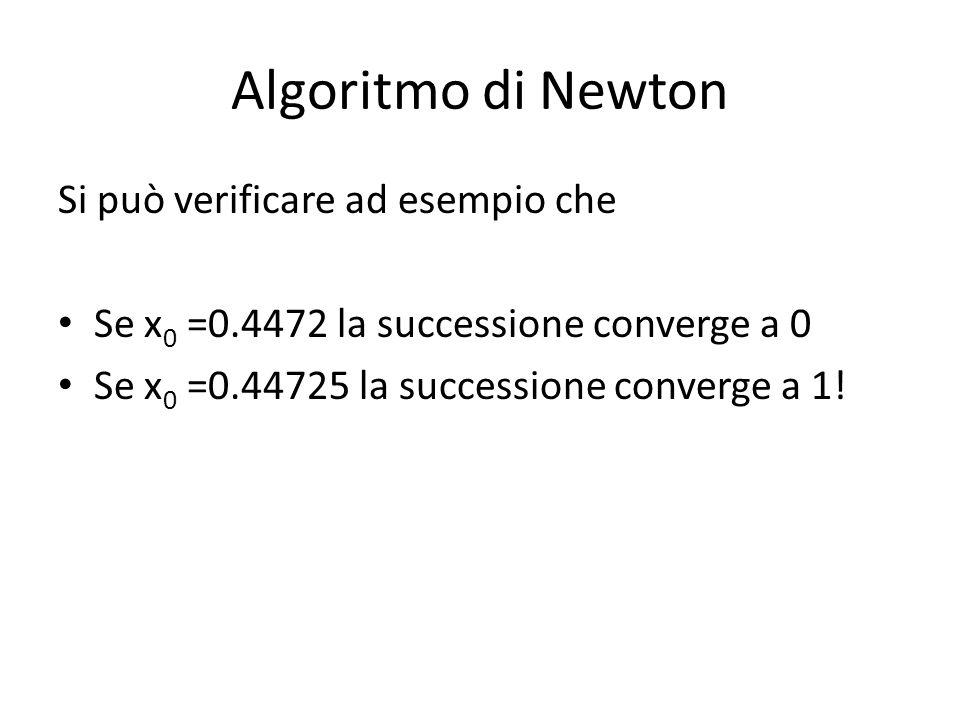 Algoritmo di Newton Si può verificare ad esempio che