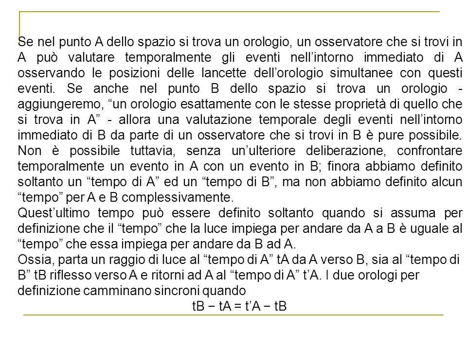 Se nel punto A dello spazio si trova un orologio, un osservatore che si trovi in A può valutare temporalmente gli eventi nell'intorno immediato di A osservando le posizioni delle lancette dell'orologio simultanee con questi eventi. Se anche nel punto B dello spazio si trova un orologio - aggiungeremo, un orologio esattamente con le stesse proprietà di quello che si trova in A - allora una valutazione temporale degli eventi nell'intorno immediato di B da parte di un osservatore che si trovi in B è pure possibile. Non è possibile tuttavia, senza un'ulteriore deliberazione, confrontare temporalmente un evento in A con un evento in B; finora abbiamo definito soltanto un tempo di A ed un tempo di B , ma non abbiamo definito alcun tempo per A e B complessivamente.