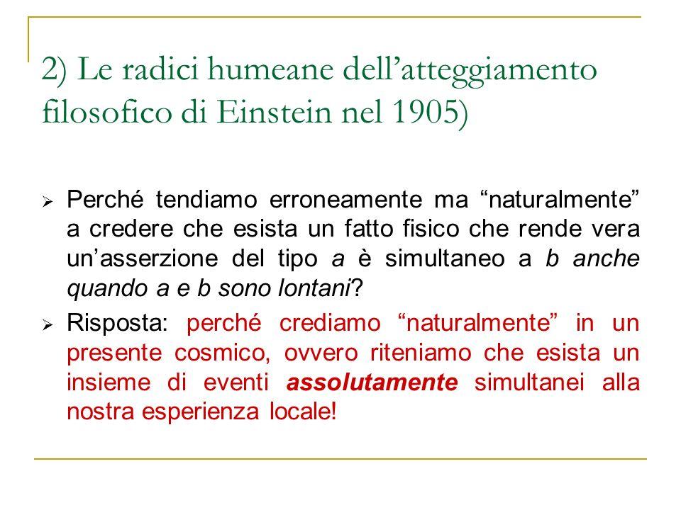2) Le radici humeane dell'atteggiamento filosofico di Einstein nel 1905)