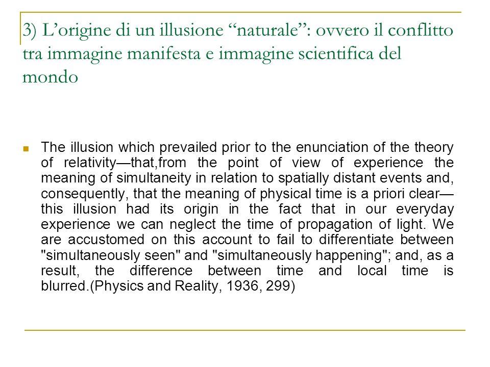3) L'origine di un illusione naturale : ovvero il conflitto tra immagine manifesta e immagine scientifica del mondo