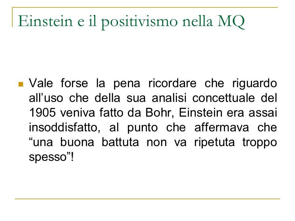 Einstein e il positivismo nella MQ