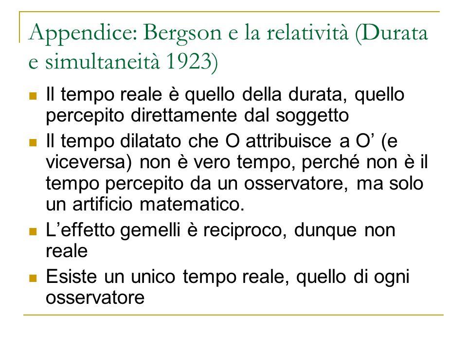 Appendice: Bergson e la relatività (Durata e simultaneità 1923)