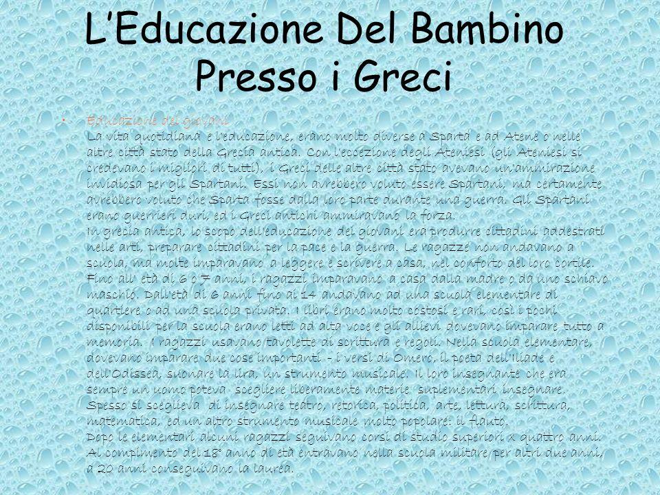 L'Educazione Del Bambino Presso i Greci