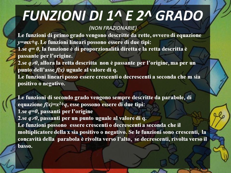 FUNZIONI DI 1^ E 2^ GRADO (NON FRAZIONARIE)