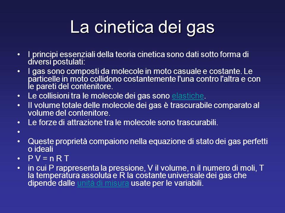 La cinetica dei gas I principi essenziali della teoria cinetica sono dati sotto forma di diversi postulati: