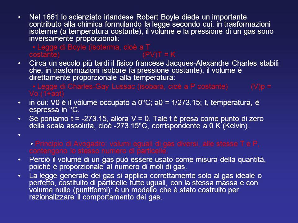 Nel 1661 lo scienziato irlandese Robert Boyle diede un importante contributo alla chimica formulando la legge secondo cui, in trasformazioni isoterme (a temperatura costante), il volume e la pressione di un gas sono inversamente proporzionali: