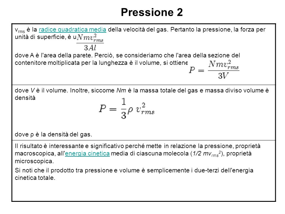 Pressione 2 vrms è la radice quadratica media della velocità del gas. Pertanto la pressione, la forza per unità di superficie, è uguale a.