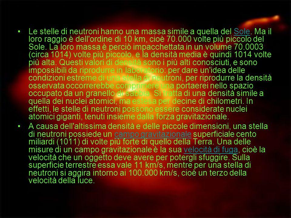 Le stelle di neutroni hanno una massa simile a quella del Sole