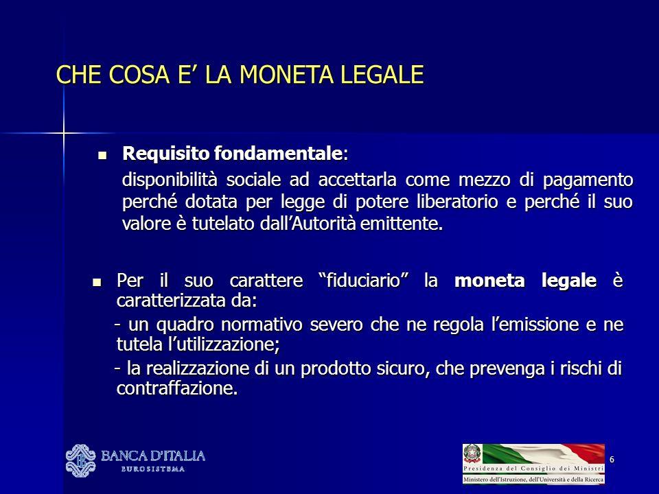 CHE COSA E' LA MONETA LEGALE
