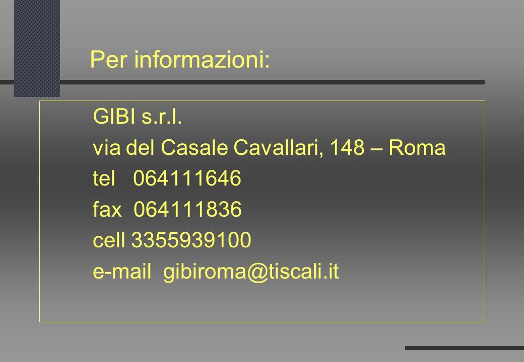 Per informazioni: GIBI s.r.l. via del Casale Cavallari, 148 – Roma