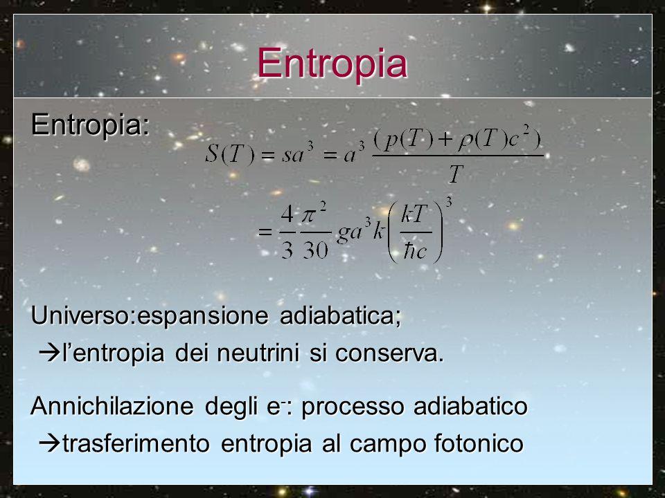 Entropia Entropia: Universo:espansione adiabatica;