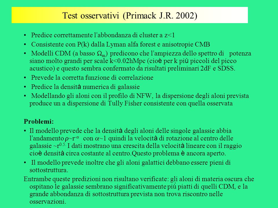Test osservativi (Primack J.R. 2002)