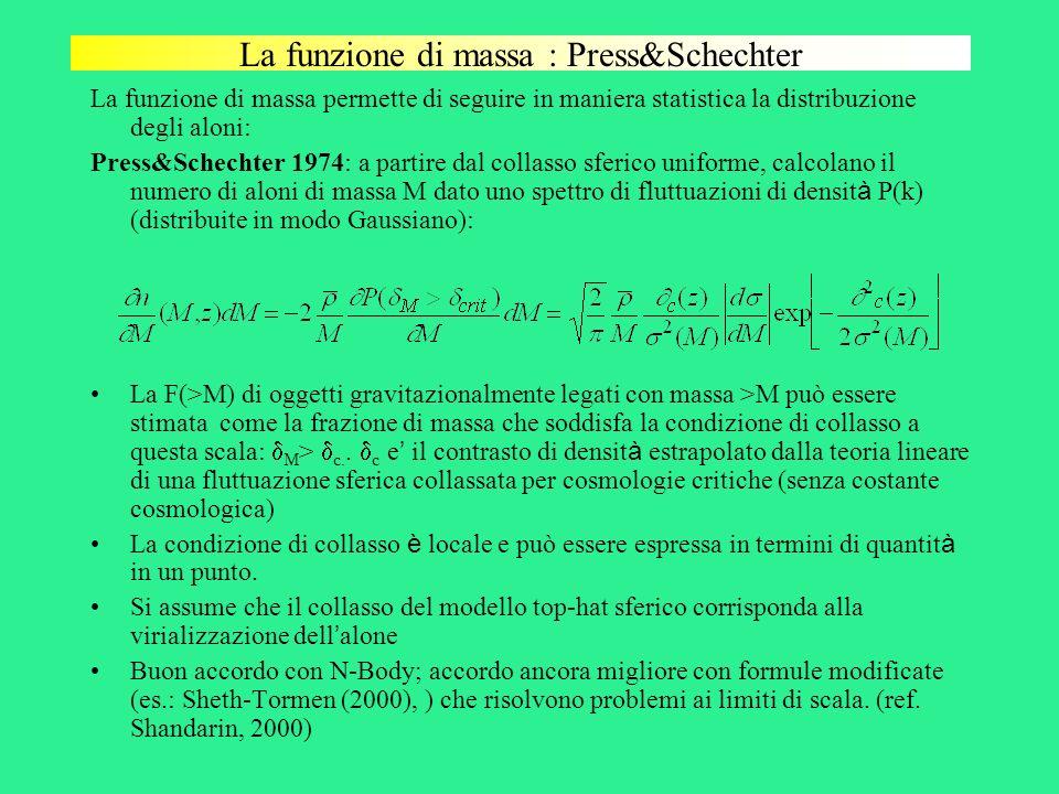 La funzione di massa : Press&Schechter