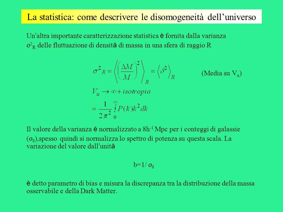 La statistica: come descrivere le disomogeneità dell'universo