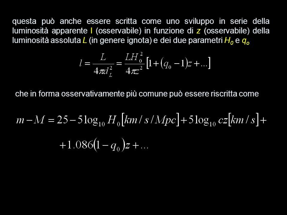 questa può anche essere scritta come uno sviluppo in serie della luminosità apparente l (osservabile) in funzione di z (osservabile) della luminosità assoluta L (in genere ignota) e dei due parametri H0 e qo